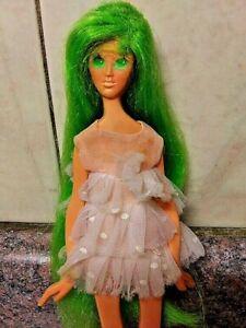 Vintage 1969 IDEAL Fashion Flatsy Doll Green Hair original Mini Dress