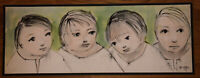 11x31 Watercolor Painting Four Children Listed African American Douglas Staten