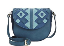 INC International Concepts Trend Marginy Faux Leather Colorblock Saddle Handbag