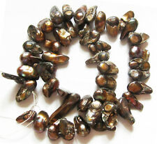 """Freshwater Pearl Coffee Brown BLISTER Stick Nuggets Loose Beads 15"""" Strand W6n"""