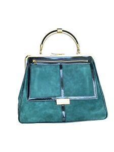 Balmain X H&M - Green Suede Leather Large Bag -