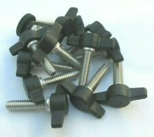 """1/4-20"""" X 1"""" Thumb Screws with Wing Knob. Delrin Tee Head, SS. 20 per package"""