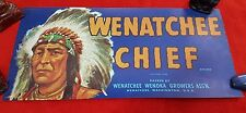 US GENUINE CRATE BOX JAR LABEL WENATCHEE CHIEF WENOKA GROWERS