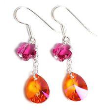 Echt Silber 925 Ohrringe mit Swarovski® Kristallen Tropfen orange Blume pink
