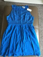 Forever 21 Ladies Turquoise Blue Lined Lace Dress Size L