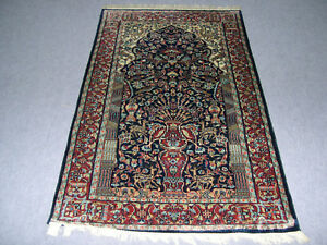 Afghan Rug Oriental Wool Carpet Area 3'x5' Blue Color Floor Mat Hand Knotted