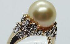 ❤JAYNES GEMS  AAA SOUTH SEA GOLDEN PEARL & DIAMOND 9K YELLOW GOLD RING UK S.