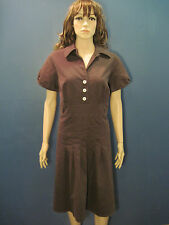 plus size 16W brown front button pleated dress by CATO