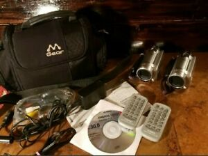 Pair Canon FS10 Flash Media Camcorder 8GB Built in Memory W/ Cables Remote Nice