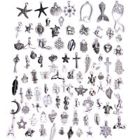 100Pcs/Set Mixed Vintage Silver Beads Charm Pendant Diy Jewelry Making Craft_EO
