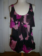 NWT: DVF Black & Pink Abstract Print Drapped Chiffon Sleeveless Top, Size 10