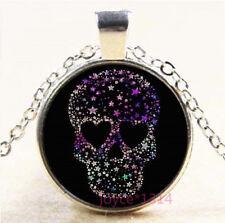 Colorful Star Skull Silver/Bronze/Black/Gold Glass Chain Pendant Necklace #7706