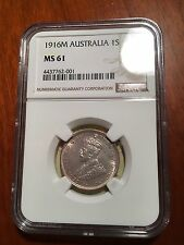 AUSTRALIA GEORGE V 1916-M SHILLING SILVER COIN, UNCIRCULATED CERTIFIED NGC MS-61