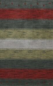 Striped Modern Gabbeh Oriental Area Rug Tribal Hand-knotted Foyer Carpet 3'x5'