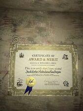 Certificate Award To Jack Cortez Fabulous Las Vegas Magazine Signed Roland Hill