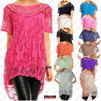 Ladies Crochet Lace Lagen Look Italian Top Vest Short Blouse Set UK Plus Size