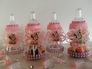 Minnie Mouse | 12 Pink Bottles Favors Prizes | Baby Shower Decoration | Girl