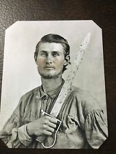 civil war Confederate Military Soldier With Sword tintype C683RP