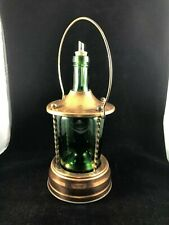 Vintage Reuge Copper Green Bottle Glass Decanter Music Box Pourer