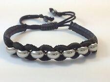MEN'S Natural Black Leather Silver Beaded Adjustable Shambhala Jewelry Bracelet
