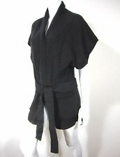 AQUA SHORT SLEEVE OPEN FRONT BELTED CARDIGAN SWEATER SIZE S SMALL SOLID BLACK