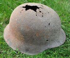 #50 WWII Germany German Original War Damaged Relic Combat Helmet OUT OF SOIL