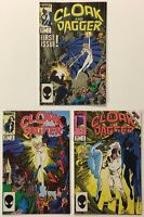 Cloak and Dagger #s 1 3 4 Lot of 3 Copper Age 1985 Marvel Comics VF+ Hot TV Show