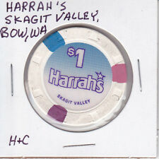 CASINO CHIP TOKEN $1 HARRAH'S SKAGIT VALLEY BOW, WA - HAT & CANE MOLD USED