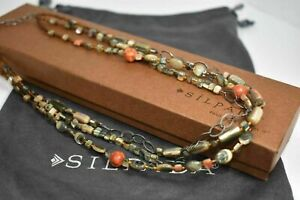 Silpada N1563 925 Sterling Silver, Shell, Sponge Coral Seed Bead Necklace