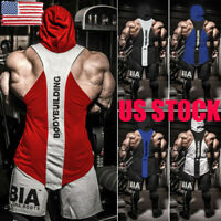 US Men Gym Clothing Bodybuilding Stringer Hoodie Tank Tops Muscle hooded T Shirt