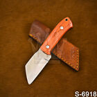 Handmade Higcharbon Steel  Orange Hardwood Seax knife W/Sheath| Sheepsfoot knife