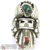 NATIVE STERLING SILVER KACHINA CORAL TURQUOISE RING, Size ANY, 21+ Grams 925 Ban