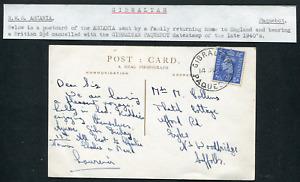 GIBRALTAR (25486): 1940's RMS ASCANIA postcard/cancel