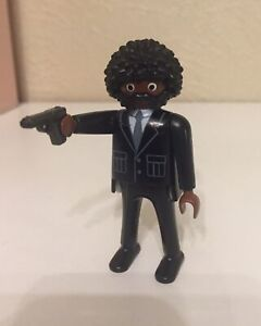 Playmobil Custom Figure African American Ethnic  Pulp Fiction Party Black Suits