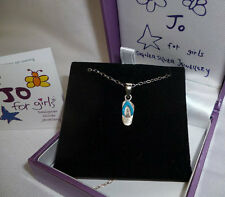 JO FOR GIRLS STERLING SILVER BLUE FLIPFLOP PENDANT AND CHAIN