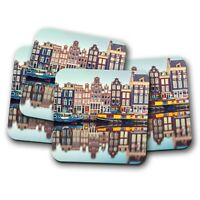 4 Set - Amsterdam Canal Coaster - Travel Netherlands Dutch Houses Gift #15380