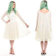 Vtg 50s 60s White Sheer LACE Wedding Dress Rockabilly Tulle Full Skirt Cape Prom