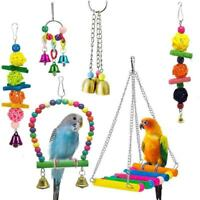 1X(6 Pack Bird Swing Toys-Parrot Hammock Bell Toys For Budgie,Parakeets, CoK1X6)