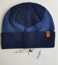 Ben Sherman Winter Knitted Beanie hat Blue 100% Lambswool Made in Scotland. New