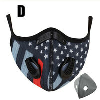 Washable Reusable Adjust Face Mask W/ Air Purifying Valves+ 1xCarbon Filter Pad