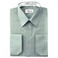 Berlioni Italy Men's Convertible Cuff Solid Italian French Dress Shirt Gray