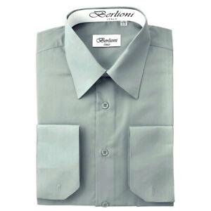 Berlioni Italien Herren Convertible Manschette Solid Französisch Kleid Hemd Grau