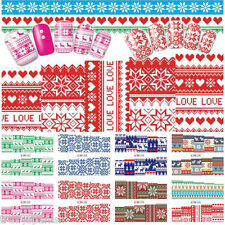 Full Wrap Water Transfers Nail Art Stickers Decals Christmas Snowflakes Knitted