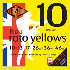 2 Sets Rotosound R10 Yellows Electric Guitar Strings 10-46