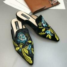 US9 Embroidery Floral Pumps Shoes Velvet Pointed Toe Mules Casual Slippers Ting1
