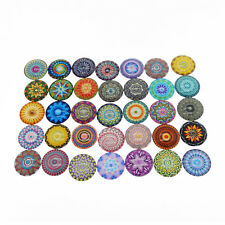 Lot of (15-30 pcs) Multi-colors Bohemian Mandala Round Glass Cabochons Crafts