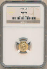 1852 $1 Dollar Gold. NGC MS61