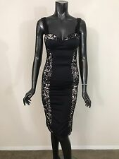 NWT Nasty Gal bustier spaghetti straps cotton black lace inserts dress size XS