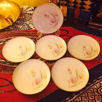 Winterling Bavaria Germany China Gray & Pink Floral , 6 piece Set of  Saucers