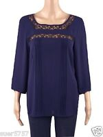 New Ex M&S Ladies Blue & Black Chiffon Lace Casual Top Size 10 - 18 3/4 Sleeve